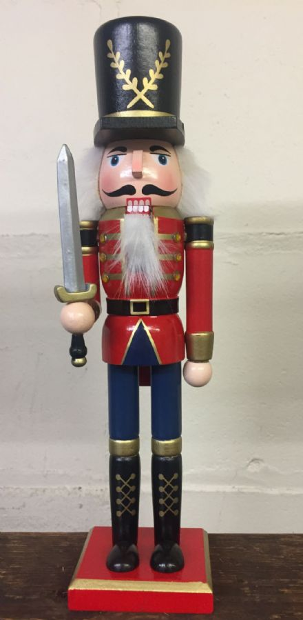 Hand Painted Wooden Nutcracker Traditional Christmas Ornament ~ With Sword